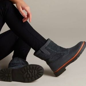 Clarks Trace Fern Suede Dark Gray Slouch Boots New